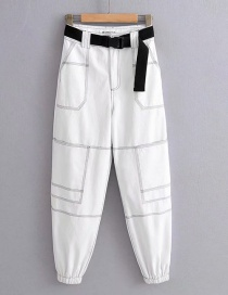 Fashion White Bright Line Trousers