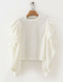 Fashion White Cashmere Puff Sleeves Round Neck Stitching Sweater
