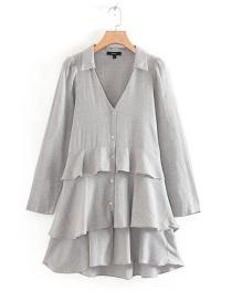 Fashion Gray Laminated V-neck Single-breasted Shirt