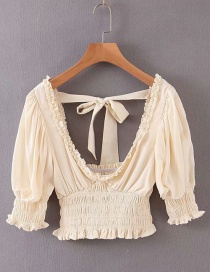 Fashion Beige Large V-neck Halter Shirt With Wooden Ears