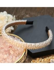 Fashion Beige Wide Version Crystal Winding Headband