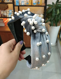 Fashion Gray Gold Velvet Nail Pearl Knotted Headband