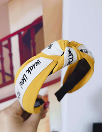 Fashion Yellow Cloth Knotted Letter Wide Side With Toothed Anti-skid Headband