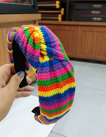 Fashion 1# Color Strip Knotted Headband Striped Knit Wide-brimmed Yarn Knotted Headband