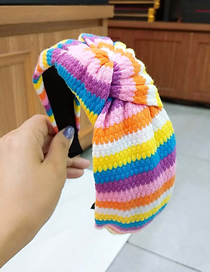 Fashion 2# Color Strip Knotted Headband Striped Knit Wide-brimmed Yarn Knotted Headband