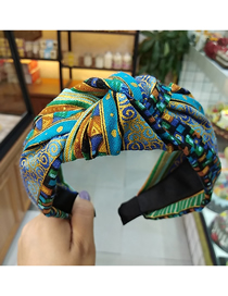 Fashion Blue Famous Wind Wide-brimmed Printed Linen Fabric Knotted Headband