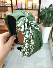 Fashion Bean Green D Letter Color Headband Colorblock Knotted Wide-brimmed Fabric Letter Headband