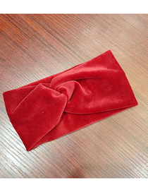 Fashion Wine Red Rich Cashmere Cross Hair Band Wide-brimmed Fabric Plush Headband