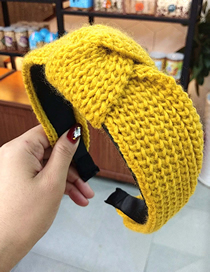 Fashion Yellow Wool Threaded Knotted Headband Knitted Knit Woolen Headband