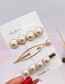 Fashion 3# Gold 3 Piece Set Of Pearl Hair Clips Pearl Winding Hair Clip
