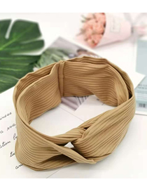 Fashion Camel Wool Wide Hair Band Knitted Wool Cross Hair Band