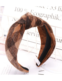 Fashion Light Coffee Color Big Knot Knotted Headband Fabric Wide-brimmed Horse Hair Hoop