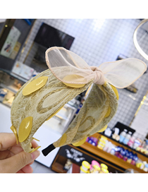 Fashion Yellow Wide-brimmed Rabbit Ear Lace Feather Headband