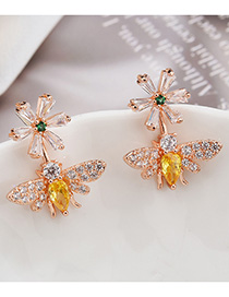 Fashion Gold S925 Sterling Silver Needle Set Zircon Bee Earrings