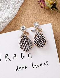 Fashion Gray 925 Silver Pin Studded Plaid Fabric Drop Earrings