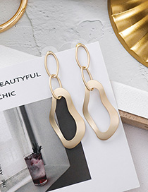Fashion Gold 925 Silver Needle Metal Irregular Chain Ring Earrings