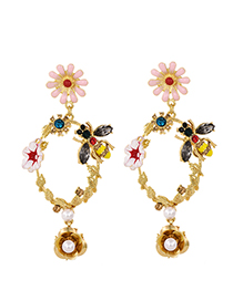 Fashion Gold Alloy Studded Bee Flower Earrings