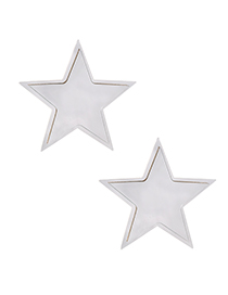Fashion Silver Resin Double-layered Five-pointed Star Stud