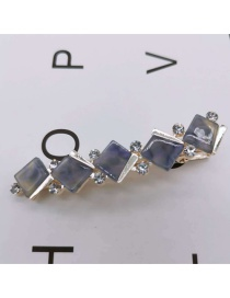Fashion Small Square Purple Resin-studded Hair Clip