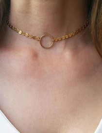 Fashion Gold Round Circle Necklace