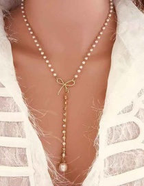 Fashion White Bow Pearl Small Diamond Necklace