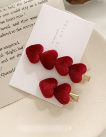 Fashion Wine Red Velvet Love Hairpin