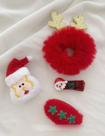 Fashion Red Plush Hair Ring Elk Hairpin Brooch Christmas Set