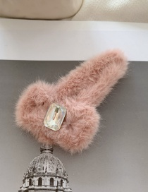 Fashion Hairpin - Pink Diamond-like Rabbit Hair Bb Clip