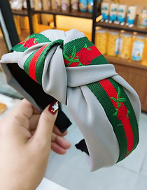 Fashion Gray + Red Rose Ribbon Rose Wide-brimmed Fabric Striped Knotted Headband