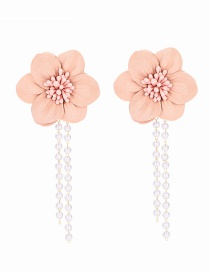 Fashion Pink Flower Tassel Earrings