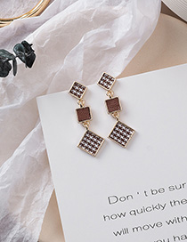 Fashion Square Long Gold 925 Silver Needle Houndstooth Textured Fabric Earrings