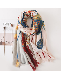 Fashion Color Plant Flower Pattern Cotton And Linen Scarf Shawl