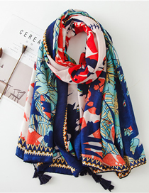 Fashion Color Printing Cotton And Linen Printed Tassel Sunscreen Shawl Scarf