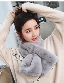Fashion Gray Imitation Otter Rabbit Fur Collar Scarf