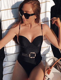 Fashion Black Waist Buckle Metal Chain Shoulder Strap One-piece Swimsuit