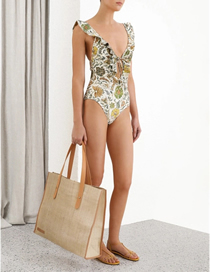 Fashion Color Printed Ruffled One-piece Swimsuit