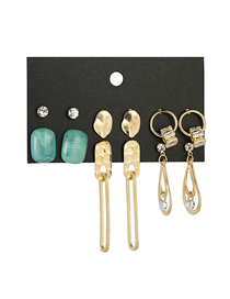 Fashion Gold Zircon Geometric Earrings Set