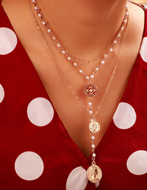 Fashion Gold Pearl Character Image Multilayer Necklace