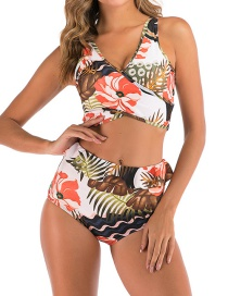 Fashion White Color Chest Cross High Waist Printed Wooden Ear Split Swimsuit