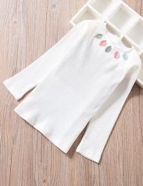 Fashion White Striped High Neck Long Sleeve Children's T-shirt
