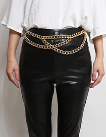 Fashion Gold Geometric Thick Chain Cross Tassel Waist Chain