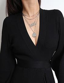 Fashion White K Multi-layer Digital Geometry Tassel Portrait Necklace