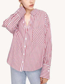 Fashion Red Striped Lapel Open Shirt
