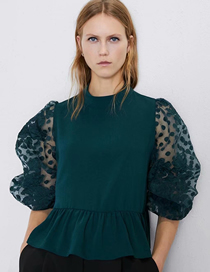 Fashion Green Organza Sleeve Shirt