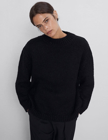 Fashion Black Knitted Monochrome Sweater
