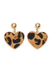 Fashion Khaki Leopard Five-pointed Star Love Earrings