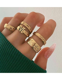 Fashion Gold Geometric Letter M Alloy Branch Ring Set Of 5
