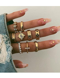 Fashion Gold Geometric Diamond Ring Set Of 9
