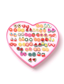 Fashion Color Fruit Soft Ceramic Animal Earrings 36 Pairs
