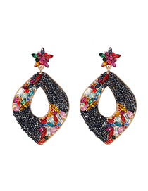 Fashion Black Geometric Diamond Earrings